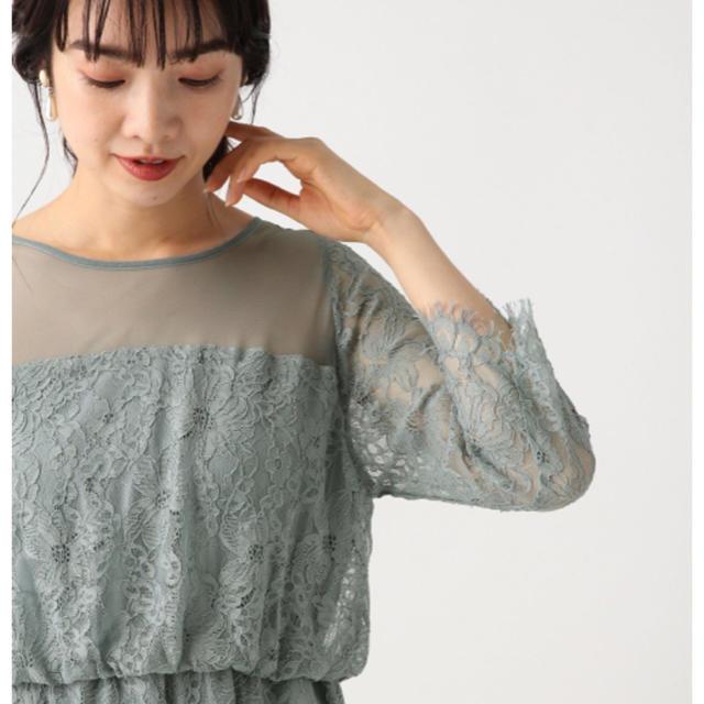apart by lowrys(アパートバイローリーズ)のスカラレースフレアワンピース グレイッシュブルー レディースのフォーマル/ドレス(ロングドレス)の商品写真