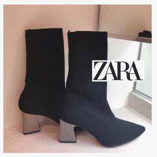 ザラ(ZARA)の完売☆メタルヒールソックスブーツ(ブーツ)