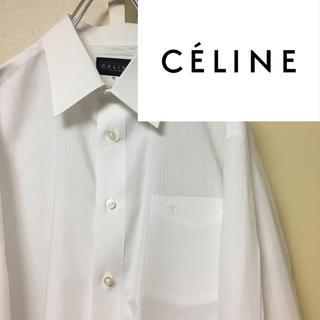 セリーヌ(celine)のCELINEセリーヌ ドレスシャツブロードシャツ 白シャツ ロゴ刺繍 バッグ財布(シャツ)