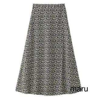 GU - gu フラワープリントフレアロングスカート