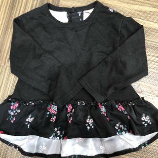 petit main - プティマイン  長袖 黒 花柄 チュニック ワンピース 100