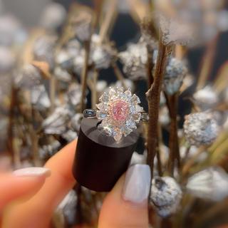 GI A付き0.26カラット豪華作りピンクダイヤモンド指輪(リング(指輪))