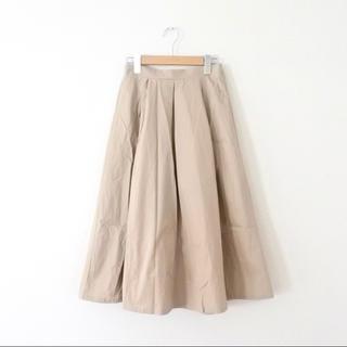 メルロー(merlot)のmerlot メルロー コットン フレア タックスカート ベージュ(ひざ丈スカート)