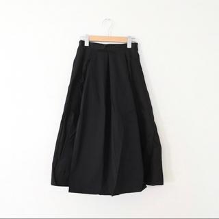 メルロー(merlot)のmerlot メルロー コットン フレア タックスカート ブラック(ひざ丈スカート)