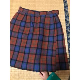 チェックキュロットスカート(ひざ丈スカート)