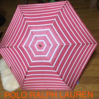 ポロラルフローレン(POLO RALPH LAUREN)のPOLO RALPH LAUREN 赤 ボーダー 折りたたみ傘(傘)