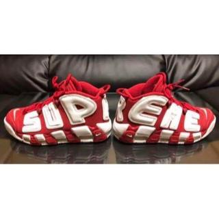 ナイキ(NIKE)のSUPREME × NIKE MORE UP TEMPO RED 赤 28(スニーカー)