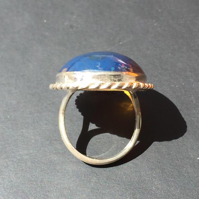 希少 大粒 ブルーアンバー ドミニカ共和国 リング 琥珀 コハク レディースのアクセサリー(リング(指輪))の商品写真