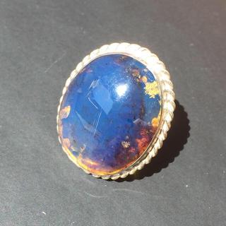 希少 大粒 ブルーアンバー ドミニカ共和国 リング 琥珀 コハク(リング(指輪))