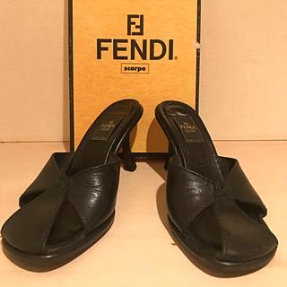 FENDI - フェンディ パンプス ミュール 黒 ブラック