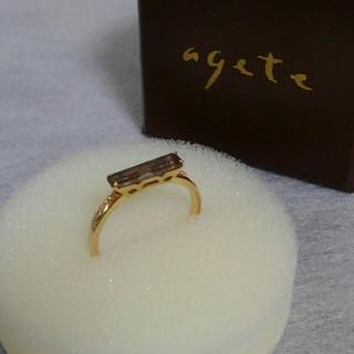 agete - アガット agete クラシック★ラルゴ リング★K10・スモーキークォーツ