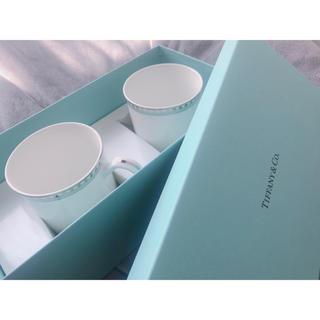Tiffany & Co. - Tiffany & CO. プラチナ ブルー バンド マグカップ 2点セット