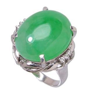 Pt900翡翠16.50ct天然ジェイダイト ダイヤモンドリング 指輪(リング(指輪))