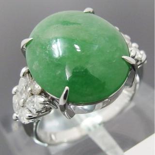*Pt900/ 翡翠/ヒスイ6.82ct ダイヤモンド計0.48ct リング  (リング(指輪))