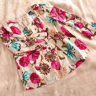 ギャップ(GAP)のGAP ガールズ チュニック 花柄 ボタニカル柄 ナチュラル(Tシャツ/カットソー)