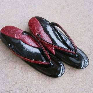 ✨美品✨ 草履 黒 ・ 赤 エナメル 和服 ・ 着物 に合わせて