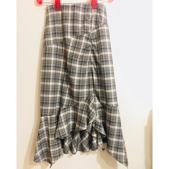FRAY I.D(フレイアイディー)のFRAY ID チェック柄変形スカート タグ付き新品未使用品 ともりん様専用 レディースのスカート(ロングスカート)の商品写真