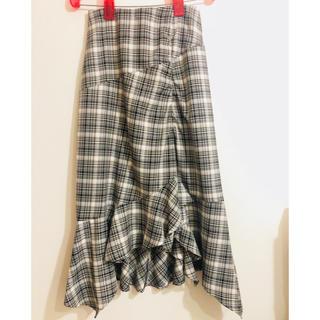 フレイアイディー(FRAY I.D)のFRAY ID チェック柄変形スカート タグ付き新品未使用品 ともりん様専用(ロングスカート)