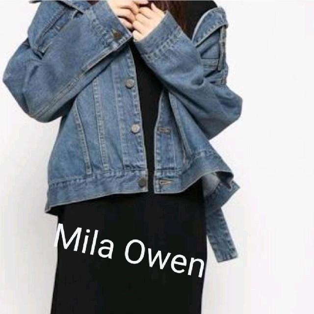 Mila Owen(ミラオーウェン)のMila Owen ミラオーウェン★ベルト付ビッグGジャン デニムジャケット レディースのジャケット/アウター(Gジャン/デニムジャケット)の商品写真
