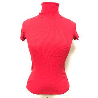 マイケルコース(Michael Kors)のマイケルコース 真っ赤な半袖タートルニット サイズ4 手洗い可(ニット/セーター)