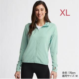 ユニクロ(UNIQLO)のユニクロ WOMEN エアリズム UVカットメッシュパーカ XL/グリーン 新品(パーカー)