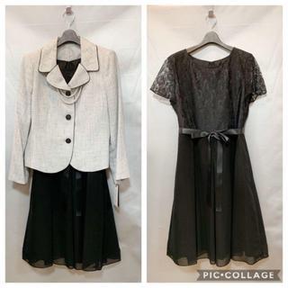 新品15号~17号★ツイードジャケット&黒ワンピースのセレモニースーツ(スーツ)