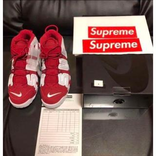 ナイキ(NIKE)の28cm SUPREME × NIKE MORE UP TEMPO RED 赤(スニーカー)