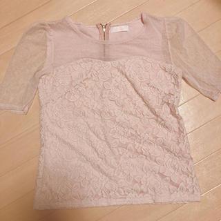 リズリサ(LIZ LISA)のピンク レース オーガンジー (シャツ/ブラウス(半袖/袖なし))