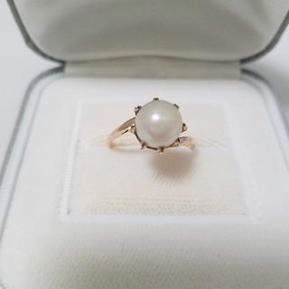 K18 パール  デザインリング ♥️シングルパール♥️美品♥️お洒落れ♥️(リング(指輪))