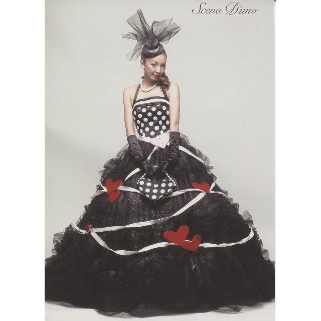 神田うの★5号~7号★黒ハート柄★カラードレス レディースのフォーマル/ドレス(ウェディングドレス)の商品写真