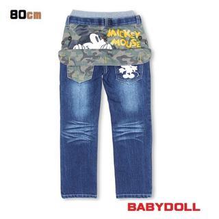 ベビードール(BABYDOLL)の861★新品【ベビードール】80cm ディズニーミッキーデニムロングパンツ(パンツ)