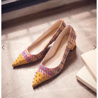 エイミーイストワール(eimy istoire)のツイードフラットパンプス エイミー eimy(ローファー/革靴)