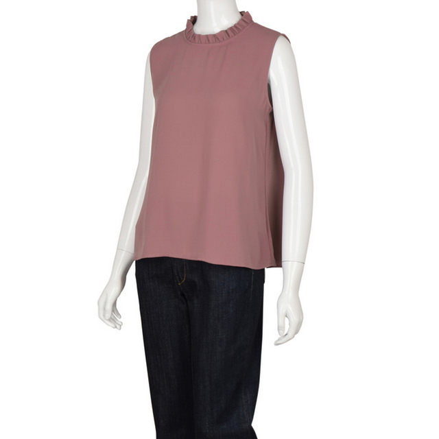 GU(ジーユー)のGU ジーユー フリルカラーブラウス (ノースリーブ) レディースのトップス(シャツ/ブラウス(半袖/袖なし))の商品写真