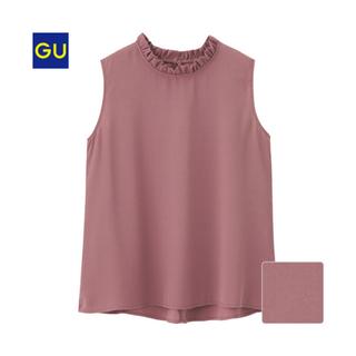 ジーユー(GU)のGU ジーユー フリルカラーブラウス (ノースリーブ)(シャツ/ブラウス(半袖/袖なし))