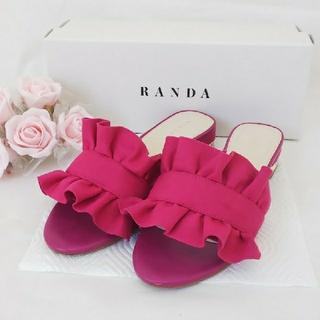 ランダ(RANDA)のお値打ち❤️フリルサンダル【ピンク】(サンダル)