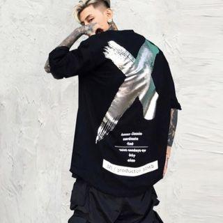 セール!オーバーサイズ ストリート バッテンTシャツ 韓国 3色(Tシャツ/カットソー(七分/長袖))