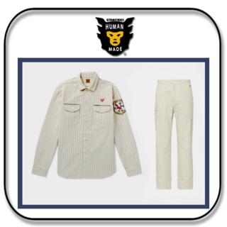 アベイシングエイプ(A BATHING APE)のHUMAN MADE  ストライプ オーバーシャツとカーゴパンツ 「M」(ワークパンツ/カーゴパンツ)