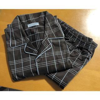 メンズ パジャマ 長袖 上下セット チェック柄  ブラウン Mサイズ(その他)