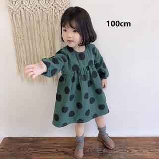 即納!海外子供服☆女の子 可愛い大ドット柄長袖ワンピース 100cm(ワンピース)