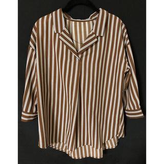 GU - GU ストライプオープンカラーシャツ 7分袖