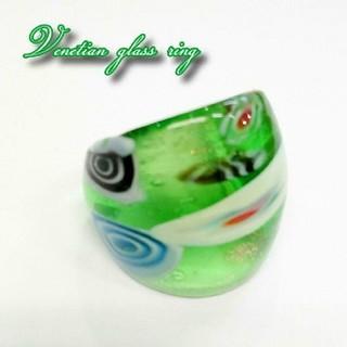 VR22 グリーン系 ミルフィオリ ベネチアン ガラス リング ベネチアリング(リング(指輪))