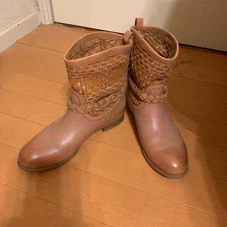 イング(ing)の9/23迄値下! ing 本革 レザーショートブーツ 23 キャメル ミハラ(ブーツ)