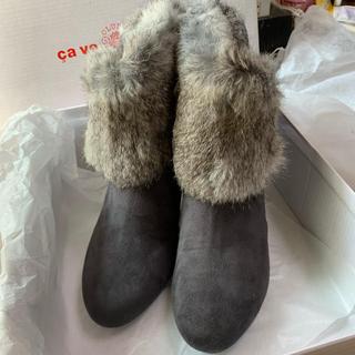 サヴァサヴァ(cavacava)のcava cava ファーショートブーツ 23.5cm 新品未使用(ブーツ)