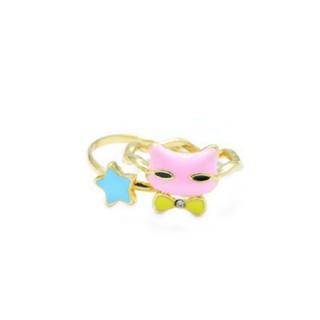【新品!猫と星の2連リング  ピンク×ブルー】(リング(指輪))
