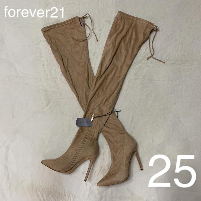 FOREVER 21(フォーエバートゥエンティーワン)の新品タグ付forever21ベージュブラウンサイハイブーツ8 レディースの靴/シューズ(ブーツ)の商品写真