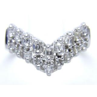 お値引き不可 PT900 合計0.54ct 天然 ダイヤ V字 リング(リング(指輪))