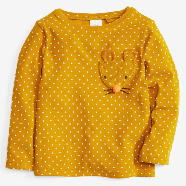 NEXT(ネクスト)の【新品】イエロー 水玉アップリケキャラクターポケット長袖Tシャツ(ヤンガー) キッズ/ベビー/マタニティのベビー服(~85cm)(シャツ/カットソー)の商品写真