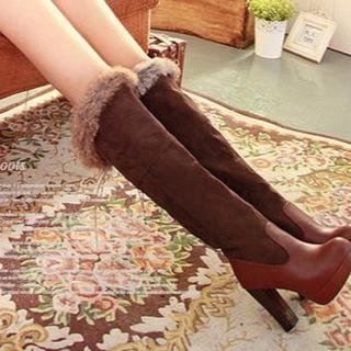 【新品】ラビットファー リボン 編み上げ ロングブーツ ブラウン 21.5cm(ブーツ)
