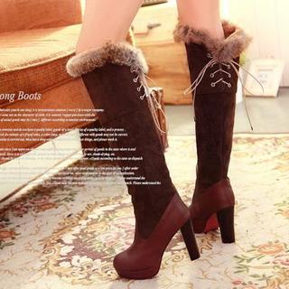 【新品】ラビットファー リボン 編み上げ ロングブーツ ブラウン 22cm(ブーツ)