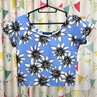 スプレイ(SpRay)のSPRAY PREMIUM 水色 花柄 カットソー(カットソー(半袖/袖なし))